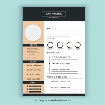 personnel resume template elegant modern design
