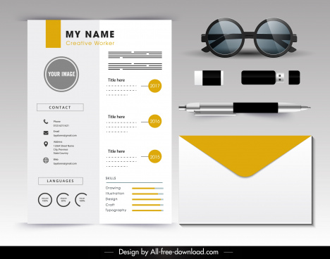 personnel resume template modern bright yellow white decor