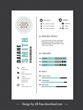 personnel resume template modern simple bright decor