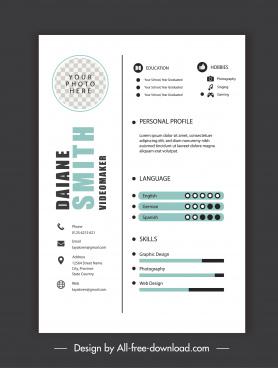 personnel resume template modern simple bright decor