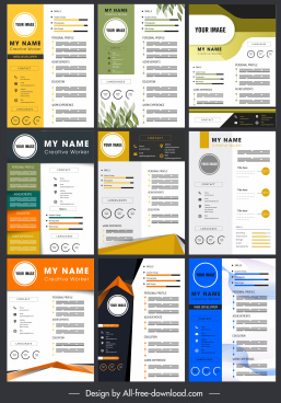 personnel resume templates colorful modern layout