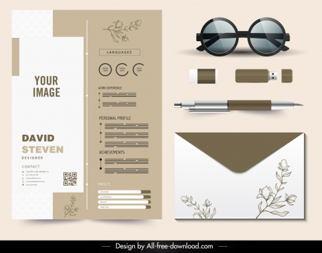 personnel resume templates elegant floral brown white decor