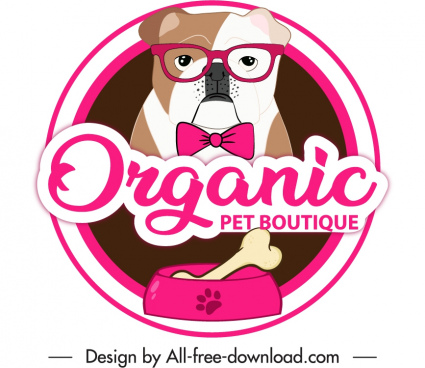 pet boutique label template funny dog sketch