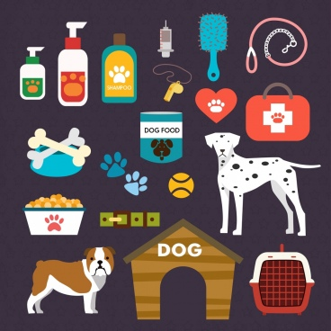 pet care design elements various colored accessory symbols