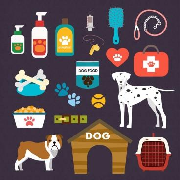 pet care design elements various colored accessory symbols