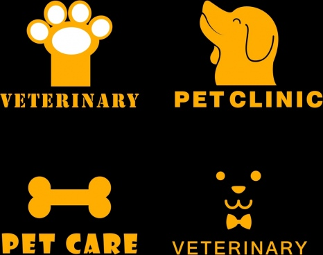 pet clinic logo sets yellow symbols decoration