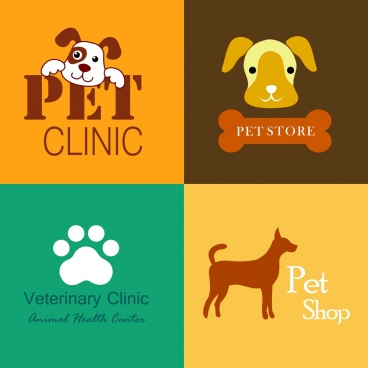 pet clinic pet store logos colorful flat ornament