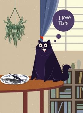 pet drawing funny cat colored cartoon design