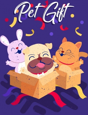 pet gift background colorful 3d design cute animals