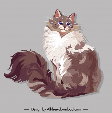 pet painting furry cat sketch colored handdrawn design