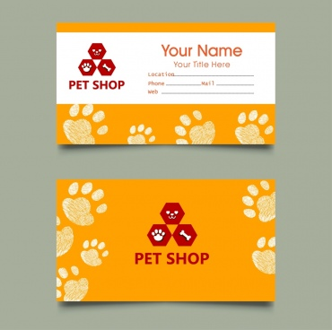 pet shop name card templates footprints decoration