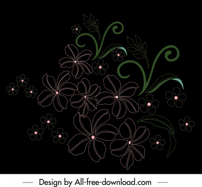 petals painting dark classical flat sketch