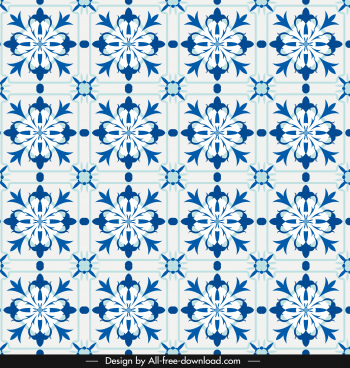 petals pattern blue classical repeating symmetrical decor