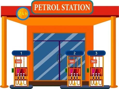petrol station front design in orange