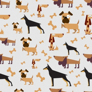 pets background dogs bone icons decoration repeating style