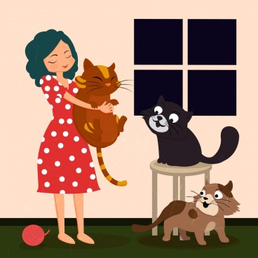 pets drawing lady cats icons colored cartoon