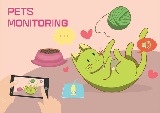 pets monitoring concept vector in colored style illustration