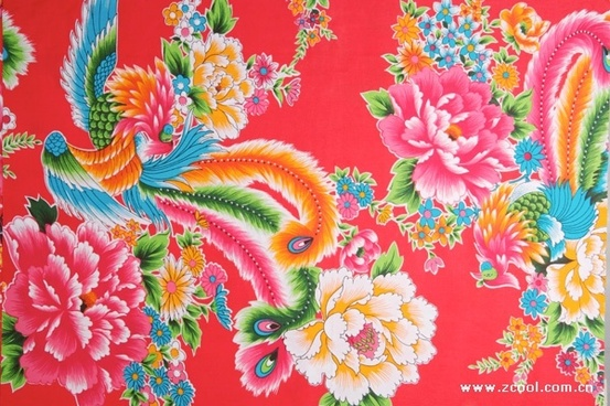 phoenix chinese peony fabric background of highdefinition picture