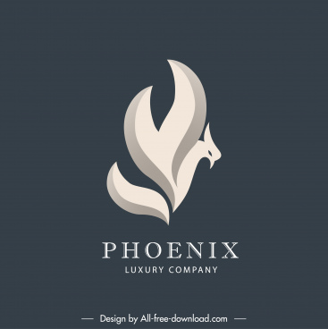 phoenix logotype abstract design swirled sketch