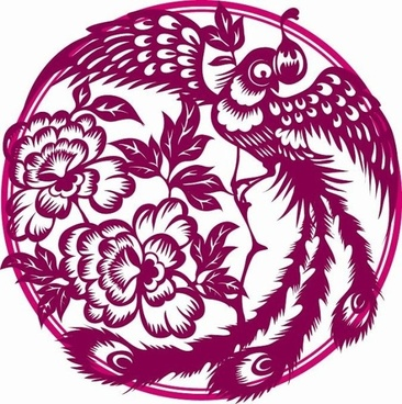 phoenix paper cutting vector