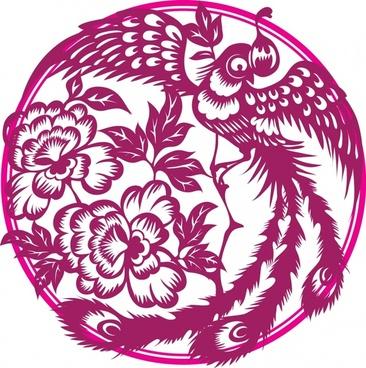 phoenix pattern pink oriental paper cut design