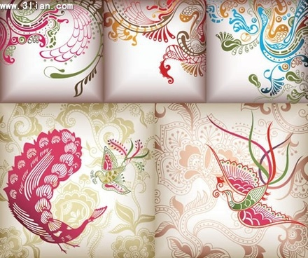 decorative background templates traditional pattern decor phoenix icon