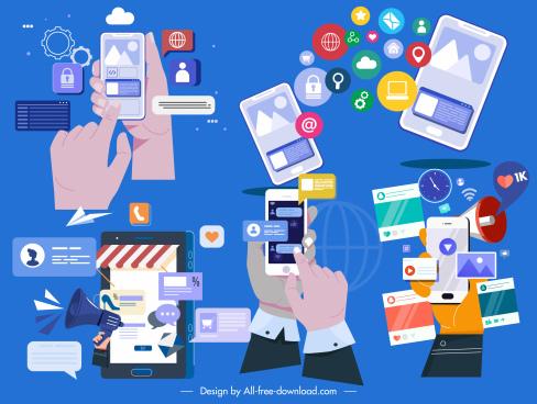 phone application design elements colorful flat technology elements