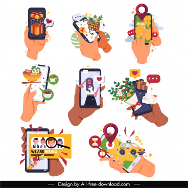 phone application icons hands user interface sketch
