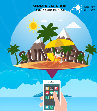 phone application promotion banner with beach vacation design