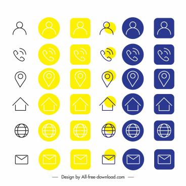 phone ui icons classic flat handdrawn symbols
