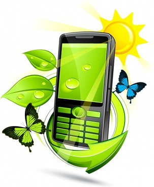 phone advertising background modern 3d leaf butterflies decor