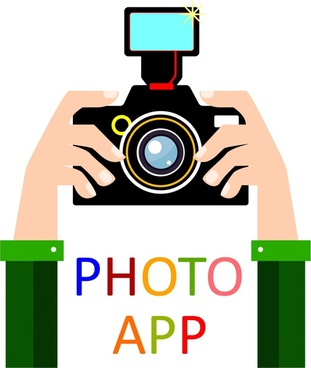 photo app concept design hand and camera illustration