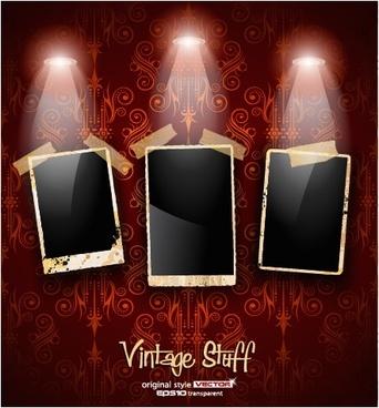 photo frame show box spotlights vector