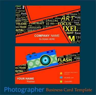 photographer business card template words mixing style