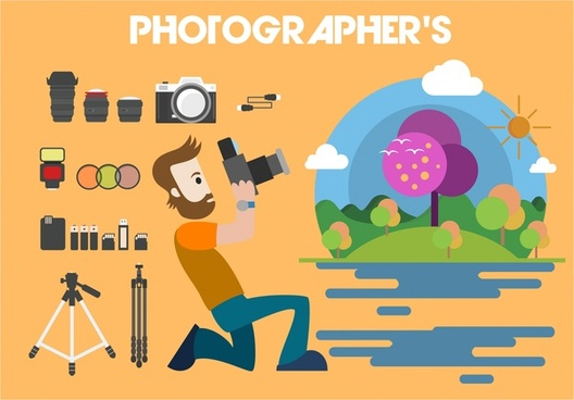 photographer concept design various accessories isolation style