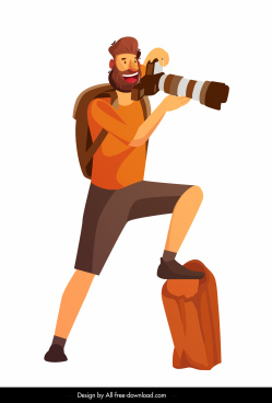 photographer icon colored cartoon character sketch
