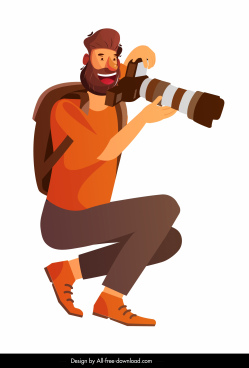 photographer icon sitting gesture colored cartoon character sketch