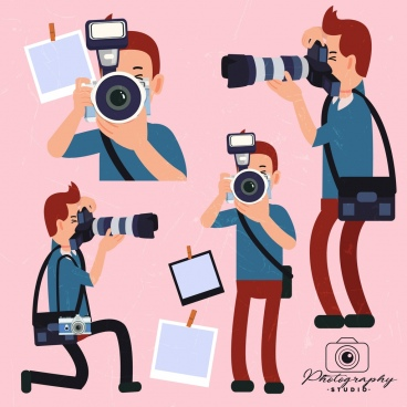 photographer icons various gestures colored cartoon