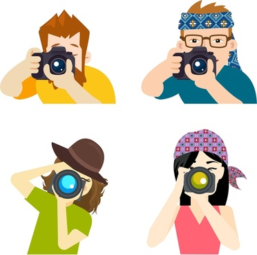 photographer icons various types in flat colors