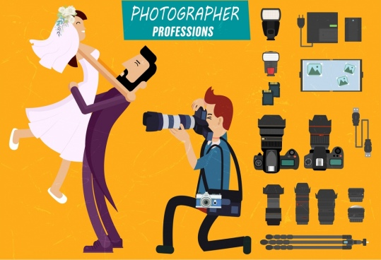 photographer job design elements camera accessories married couple