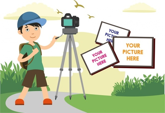 photographic banner design camera and outdoor scenery style