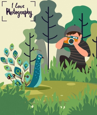 photography banner cameraman peacock icon colored cartoon