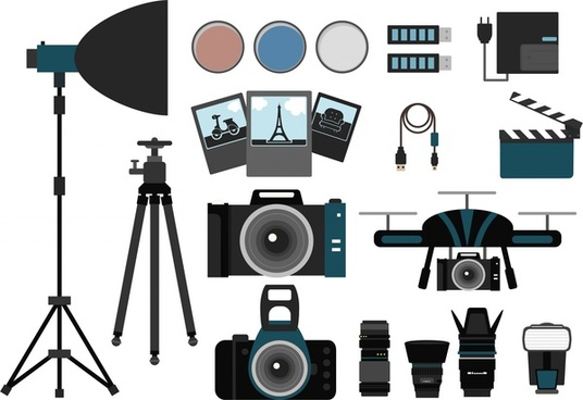 photography concept design various symbols elements isolation