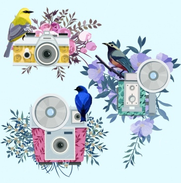 photography design elements multicolored camera bird flower icons