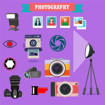 photography icons illustration with various colored symbols