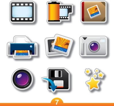 photography product icons vector