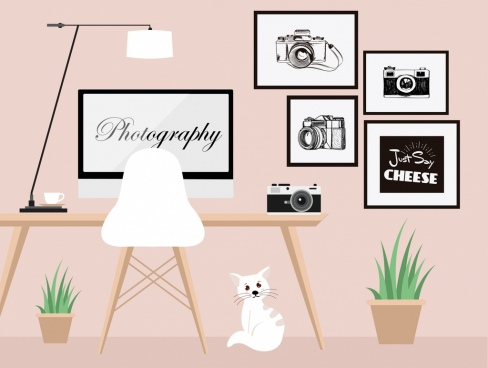 photography studio background camera computer furniture painting icons