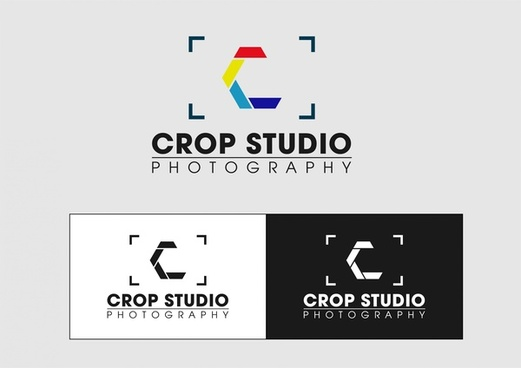 photography studio logo sets various color effects style
