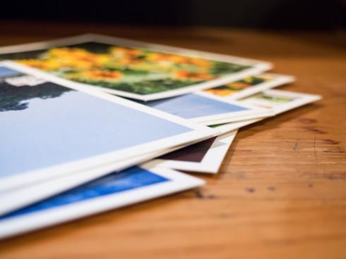 photos on wood desk
