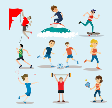physical activities vector illustration with outdoor sports